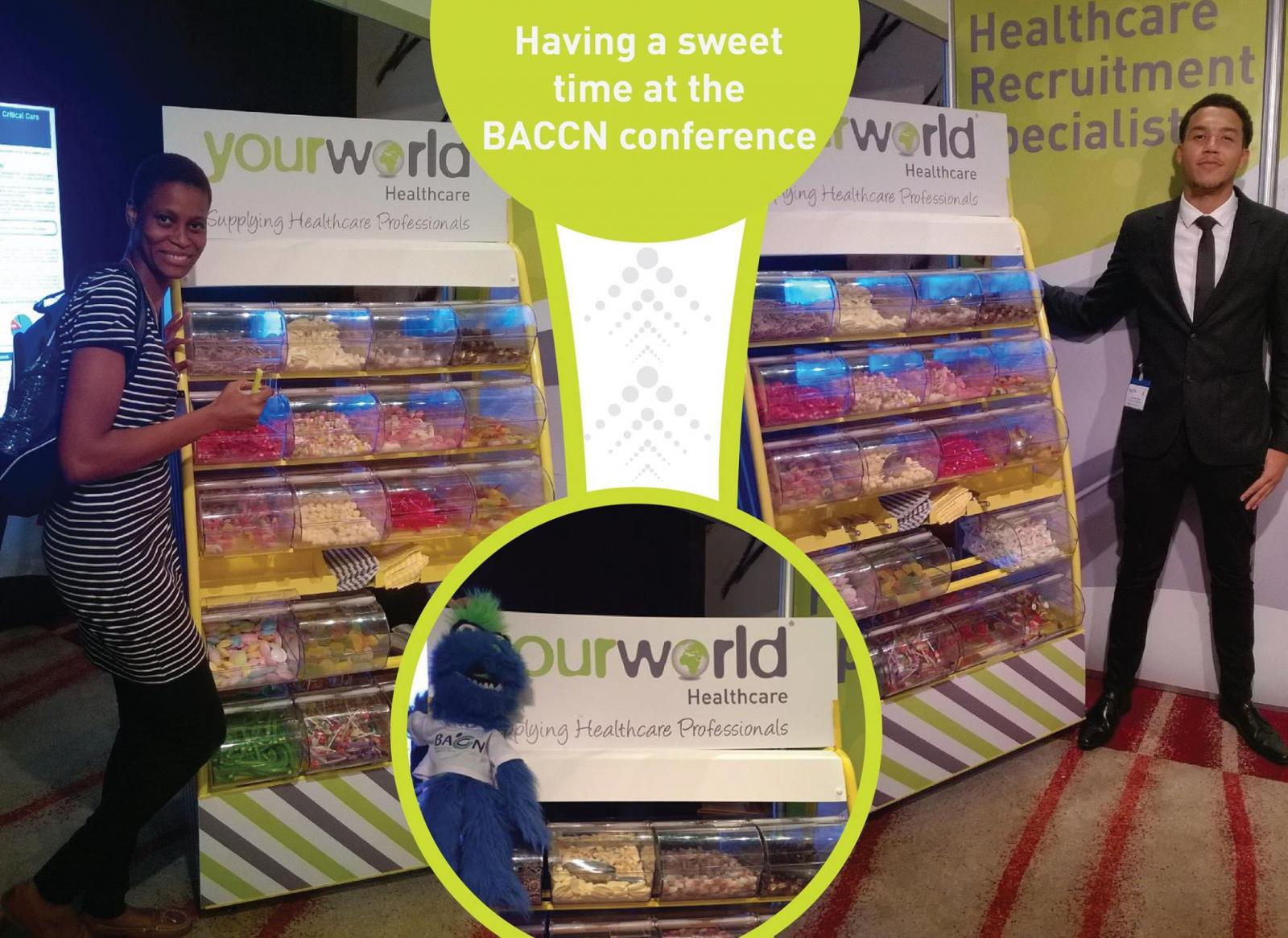 Your World Healthcare gives sweets to delegates at the BACCN conference